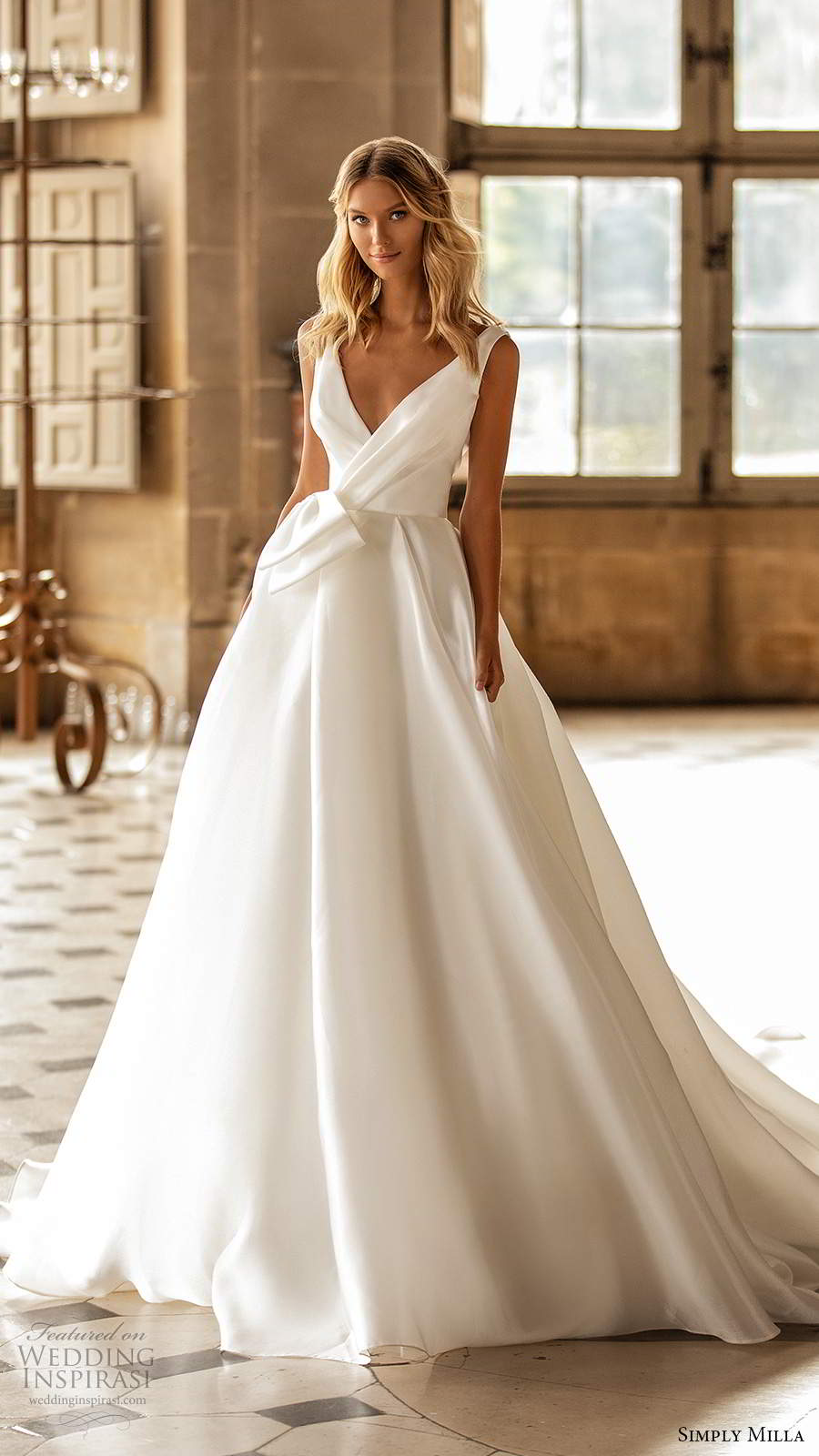 simply milla nova 2020 bridal sleeveless straps v surplice neckline clean minalist a line ball gown wedding dress cathedrea; train (11) mv