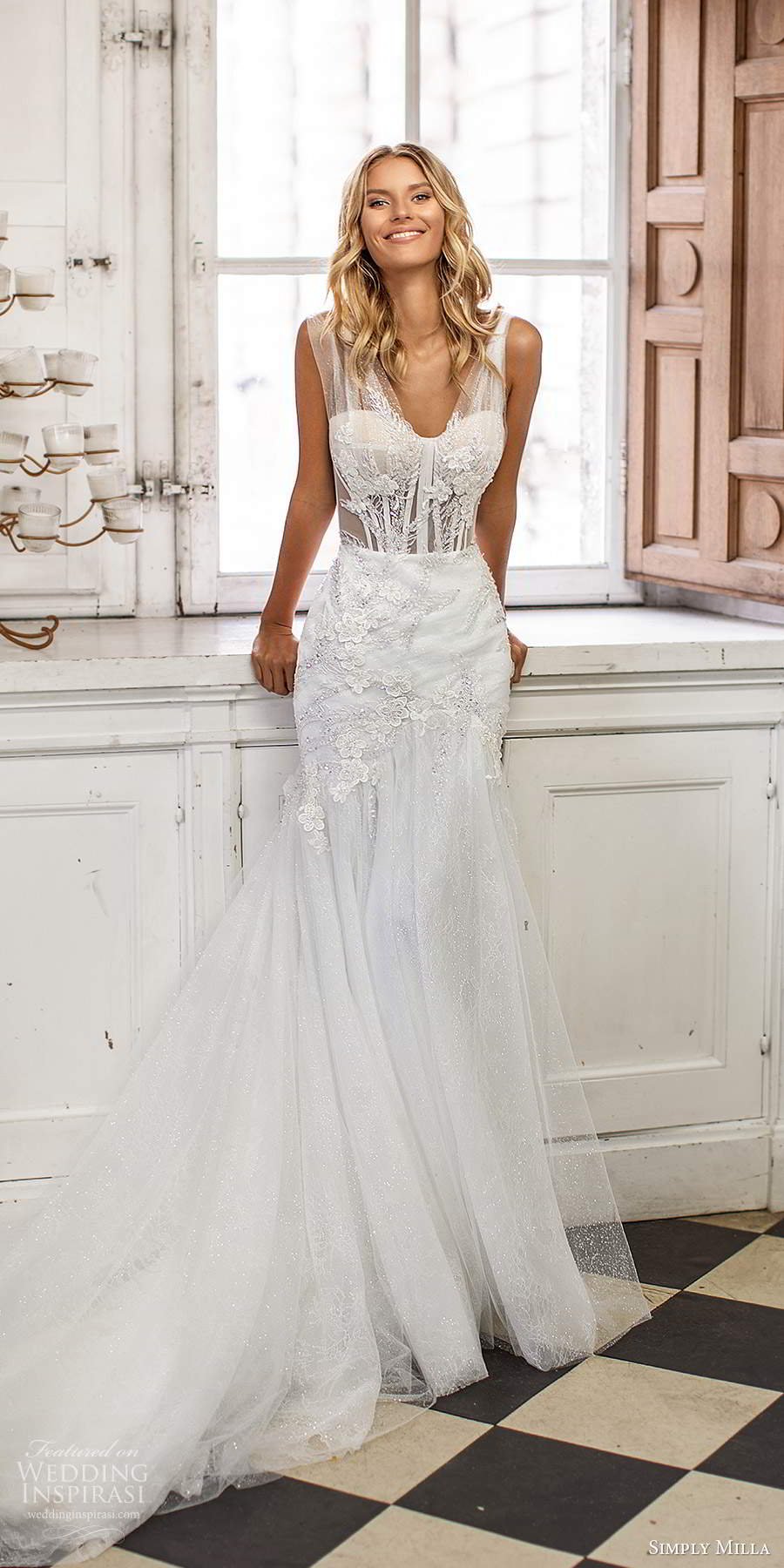 simply milla nova 2020 bridal sleeveless thick ruched straps v neckline embellished fit flare mermaid wedding dress chapel train (16) mv