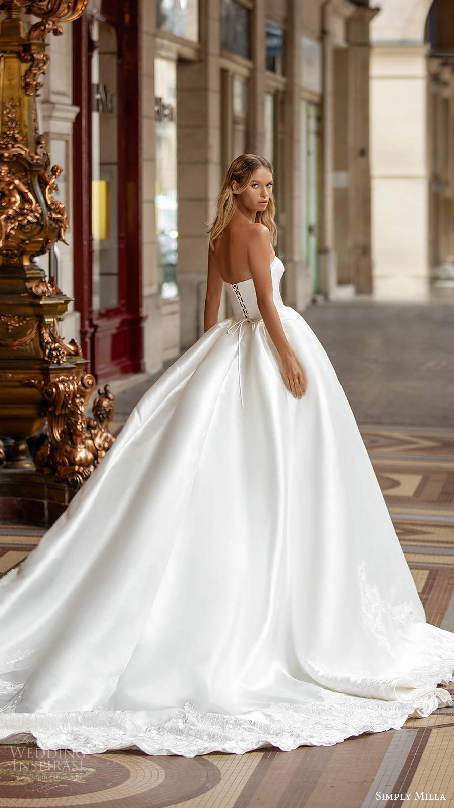 simply milla nova 2020 bridal strapless semi sweetheart clean minimal a line ball gown wedding dress chapel train (2) bv
