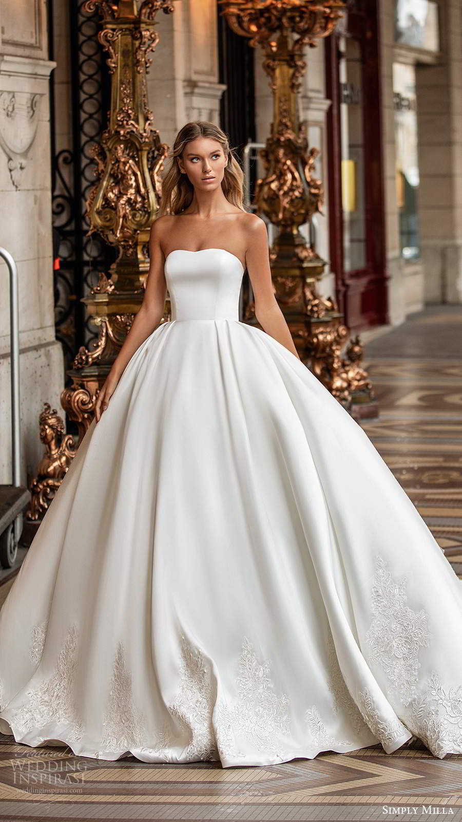simply milla nova 2020 bridal strapless semi sweetheart clean minimal a line ball gown wedding dress chapel train (2) mv