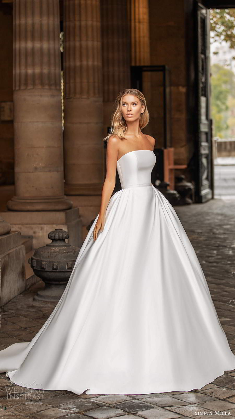 simply milla nova 2020 bridal strapless straight across neckline clean minimalist a line ball gown wedding dress chapel train (14) mv