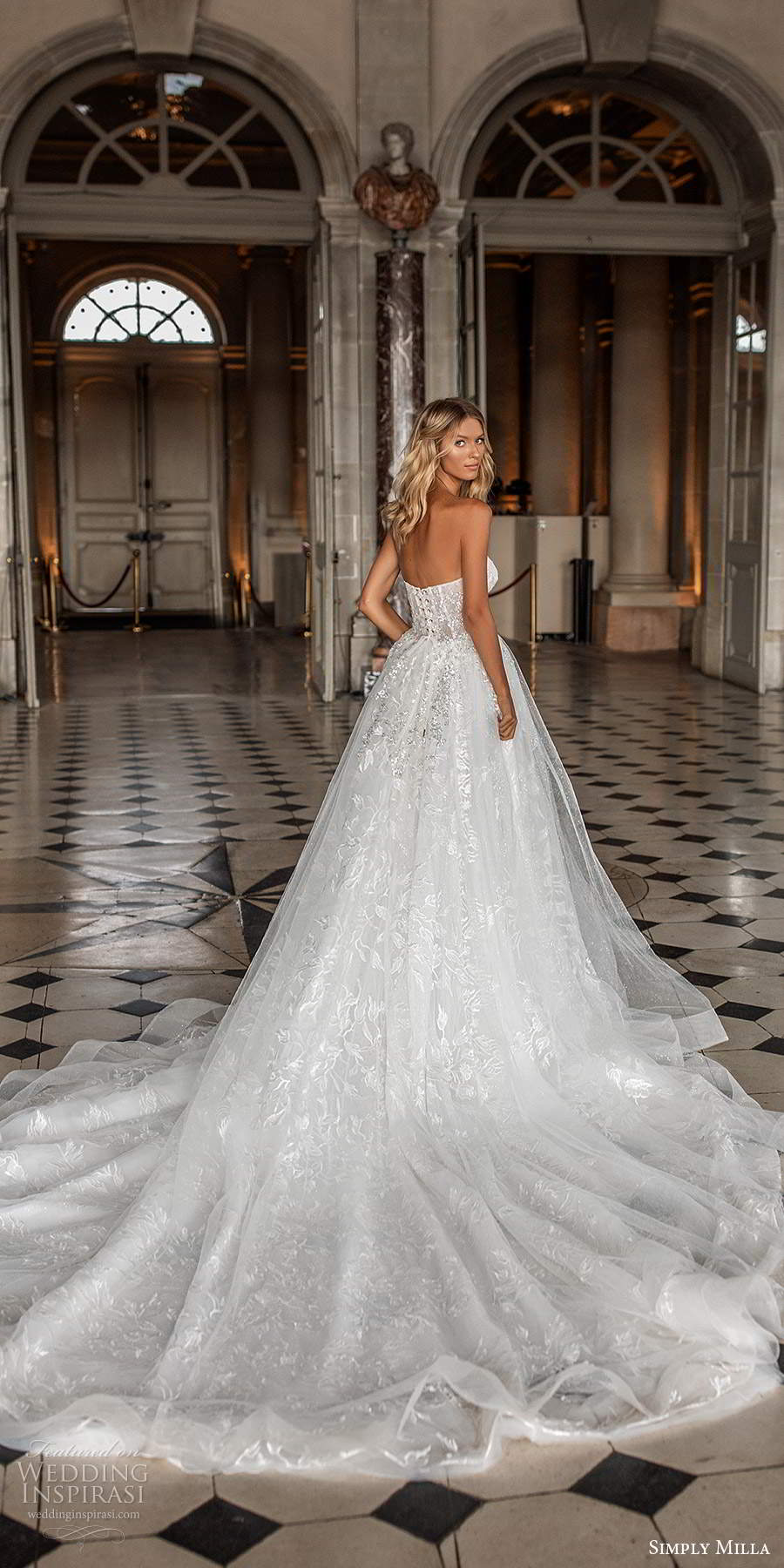 simply milla nova 2020 bridal strapless sweetheart neckline fully embellished aline ball gown wedding dress cathedral train (1) bv