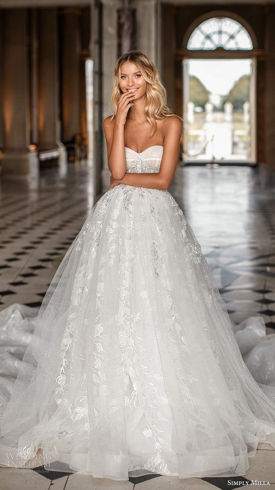 simply milla nova 2020 bridal strapless sweetheart neckline fully embellished aline ball gown wedding dress cathedral train (1) mv
