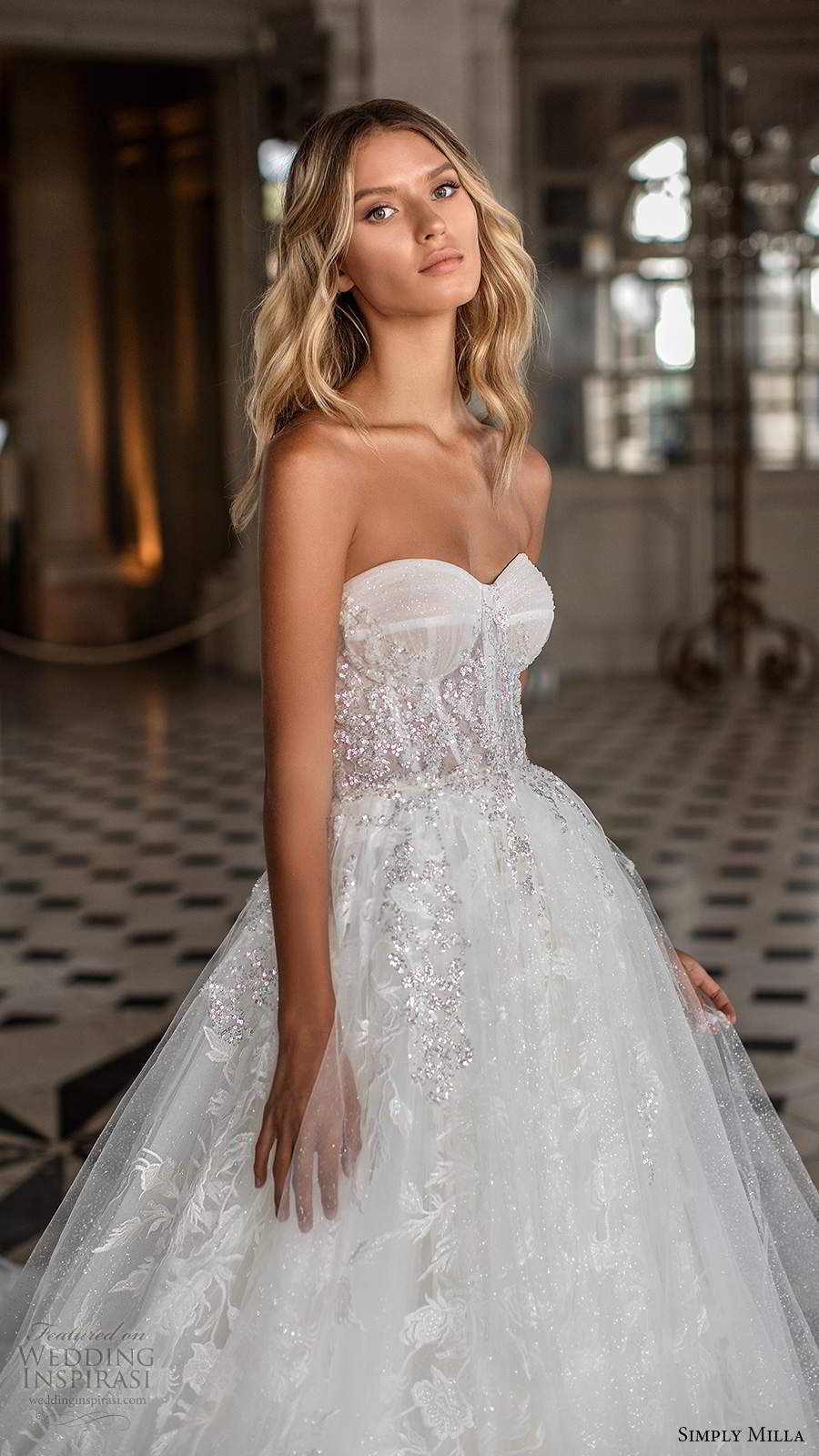 simply milla nova 2020 bridal strapless sweetheart neckline fully embellished aline ball gown wedding dress cathedral train (1) zv