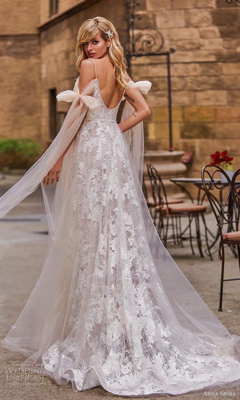 anna sposa 2021 bridal cold shoulder bow straps v neckline fully embellished a line ball gown wedding dress blush scoop back chapel train (6) bv