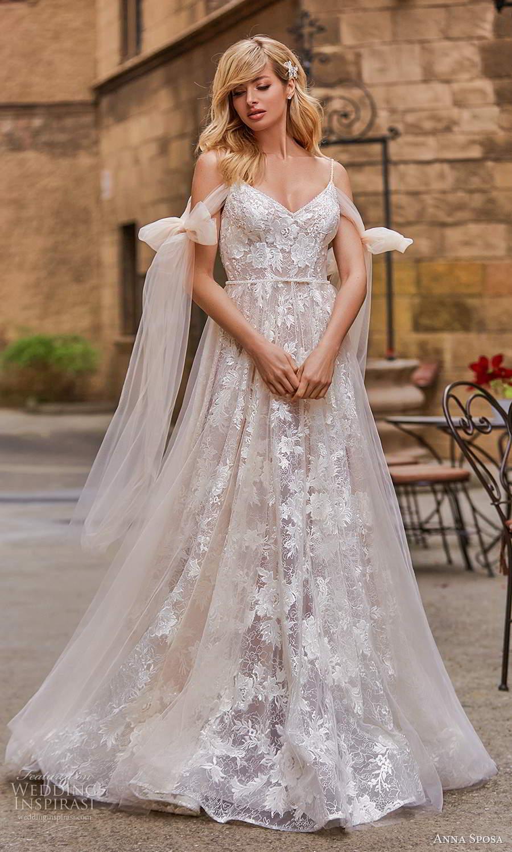 anna sposa 2021 bridal cold shoulder bow straps v neckline fully embellished a line ball gown wedding dress blush scoop back chapel train (6) mv