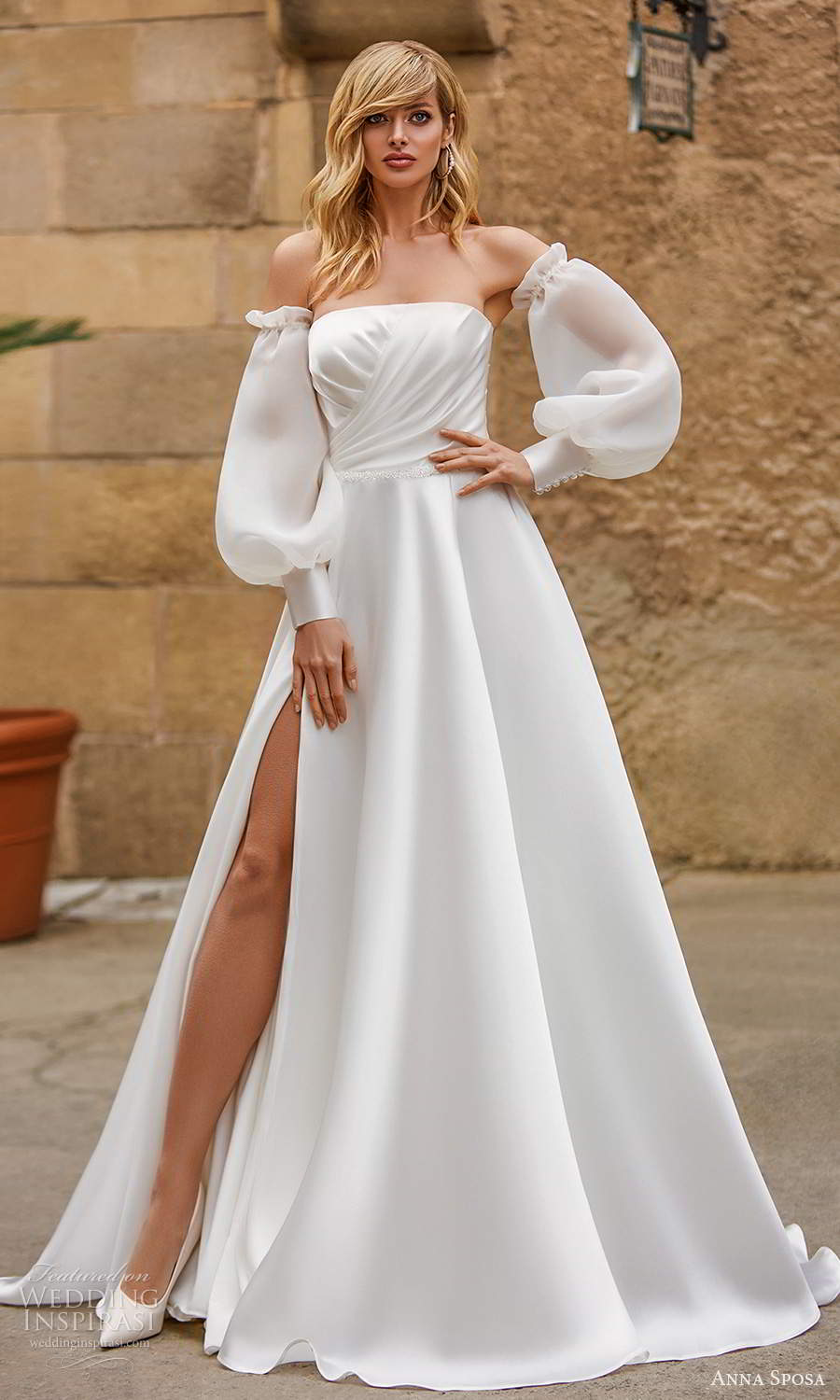 anna sposa 2021 bridal detached bishop sleeves strapless straight across neckline ruched bodice minimalist a line ball gown wedding dress slit skirt chapel train (15) mv