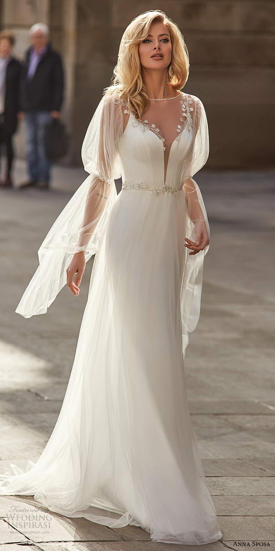anna sposa 2021 bridal illusion bell sleeves sleeveless straps plunging v neckline clean minimalist sheath wedding dress high slit swep train (5) mv
