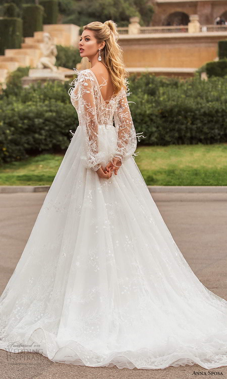 anna sposa 2021 bridal illusion bishop sleeves plunging v neckline fully embellished feather lace a line ball gown wedding dress chapel train (11) bv