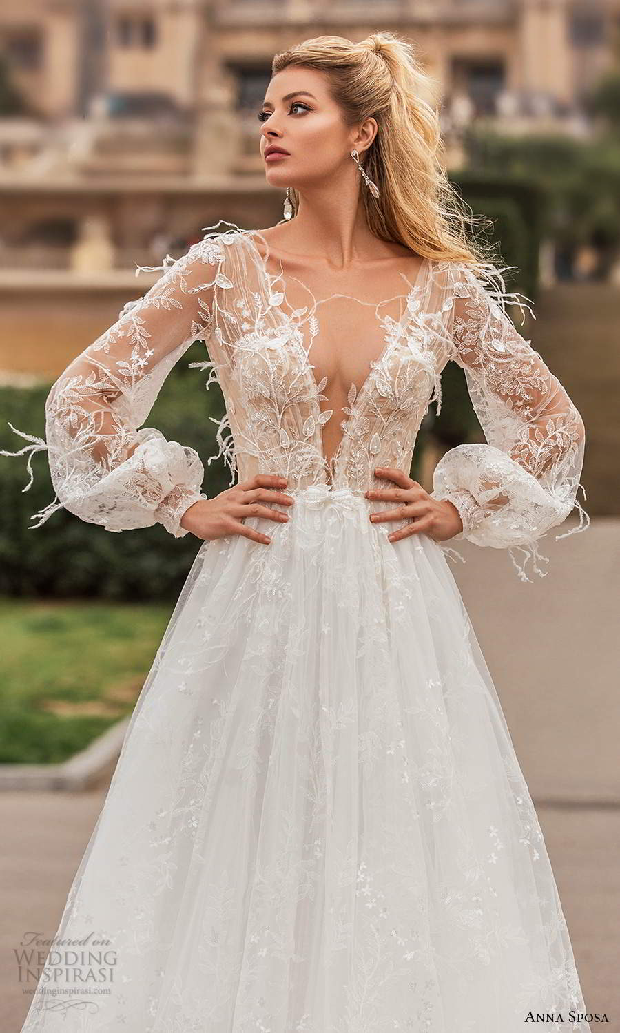 anna sposa 2021 bridal illusion bishop sleeves plunging v neckline fully embellished feather lace a line ball gown wedding dress chapel train (11) zv