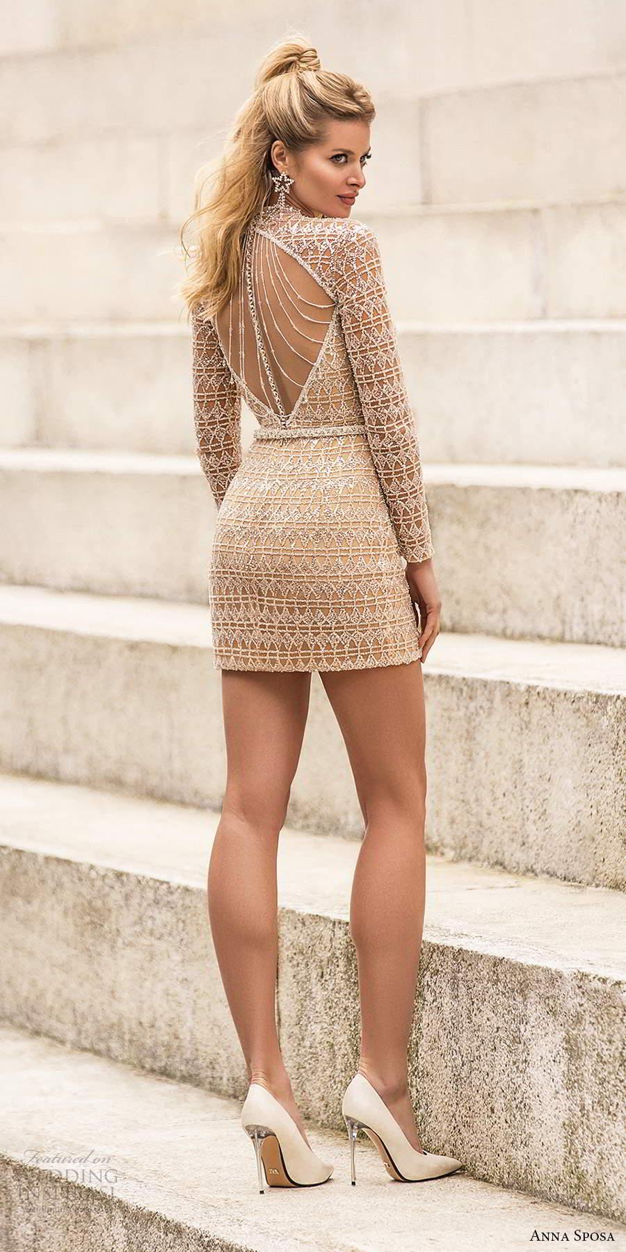 anna sposa 2021 bridal long sleeve high neckline beaded fully embellished short wedding dress (23) bv