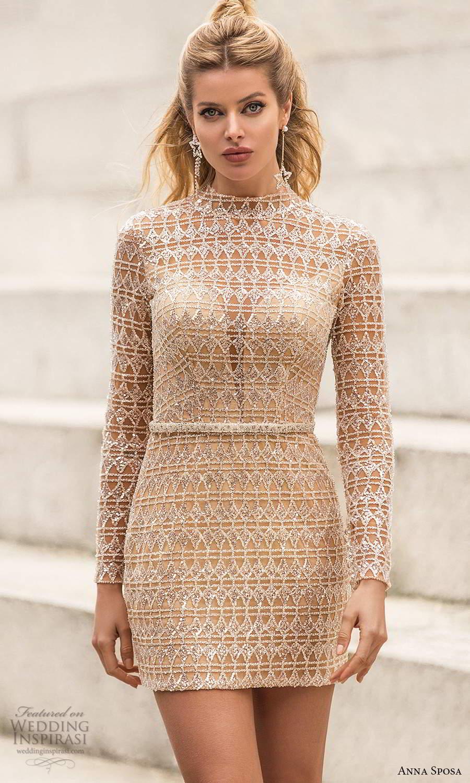 anna sposa 2021 bridal long sleeve high neckline beaded fully embellished short wedding dress (23) mv