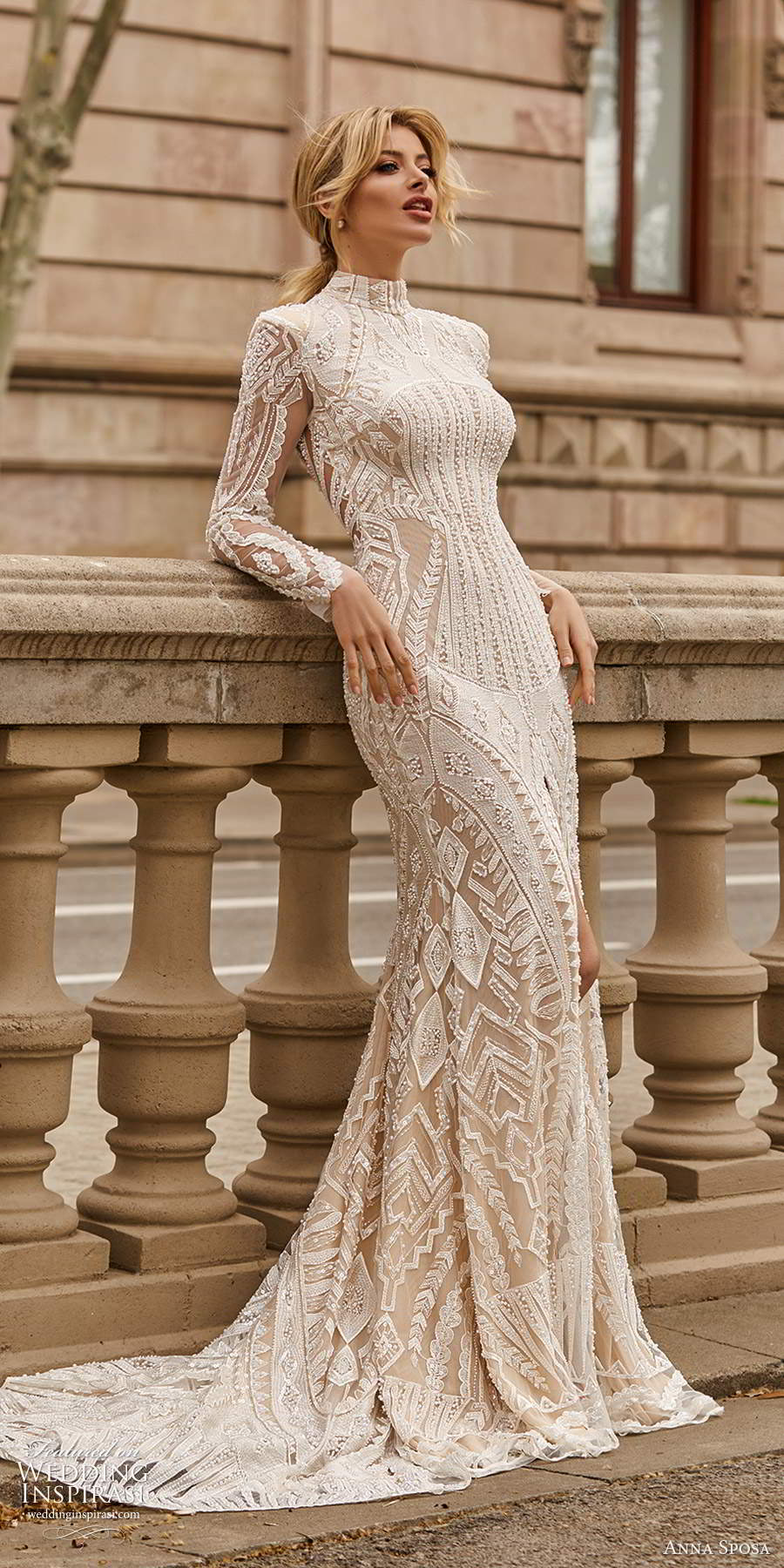 anna sposa 2021 bridal long sleeves high neckline fully embellished lace sheath wedding dress chapel tain (25) mv