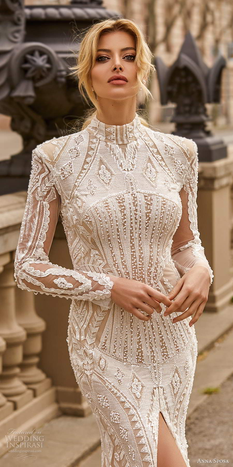 anna sposa 2021 bridal long sleeves high neckline fully embellished lace sheath wedding dress chapel tain (25) zv