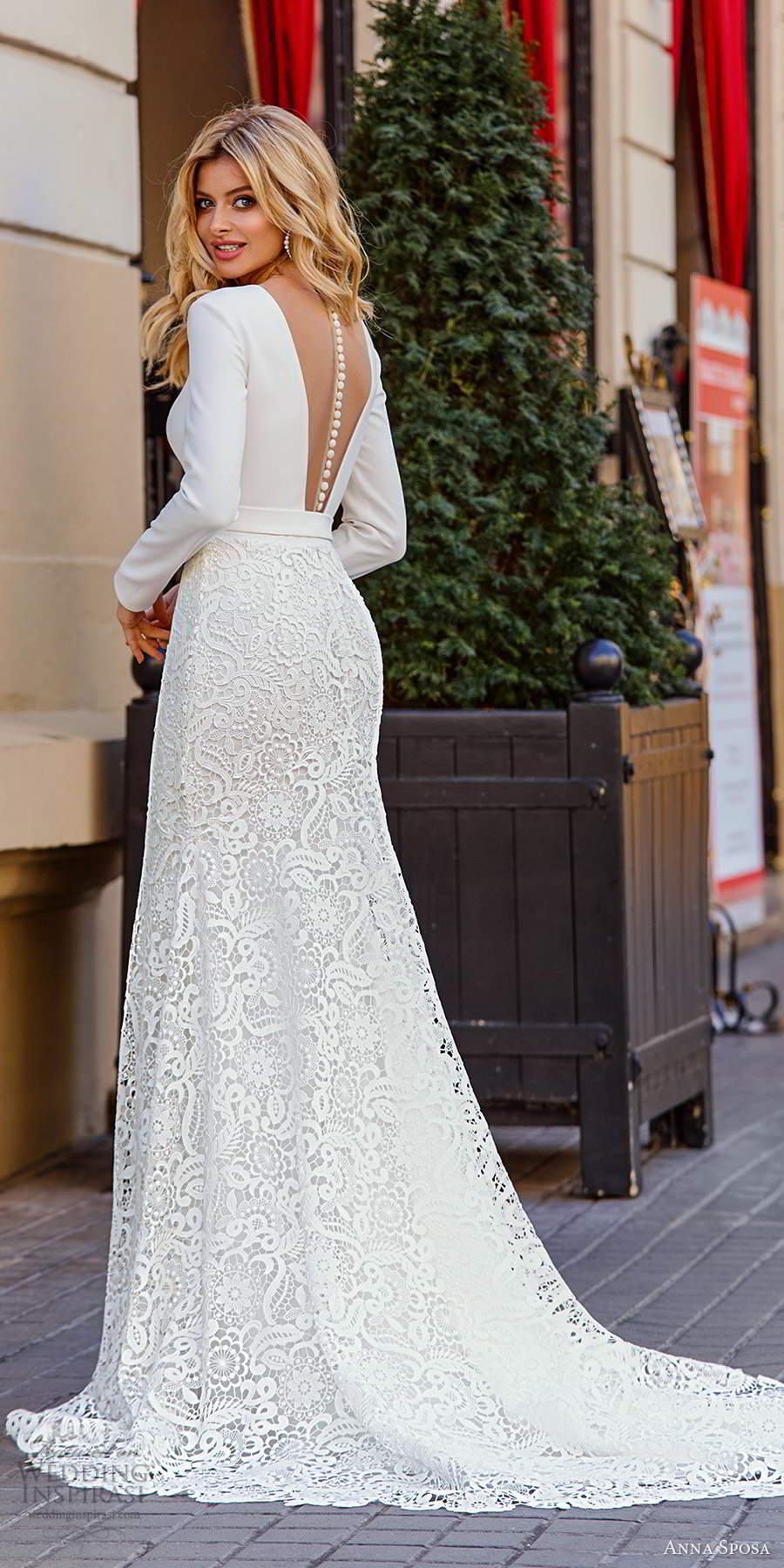 anna sposa 2021 bridal long sleeves plunging v neckine clean bodice lace skirt mermaid wedding dress chapel train (10) bv