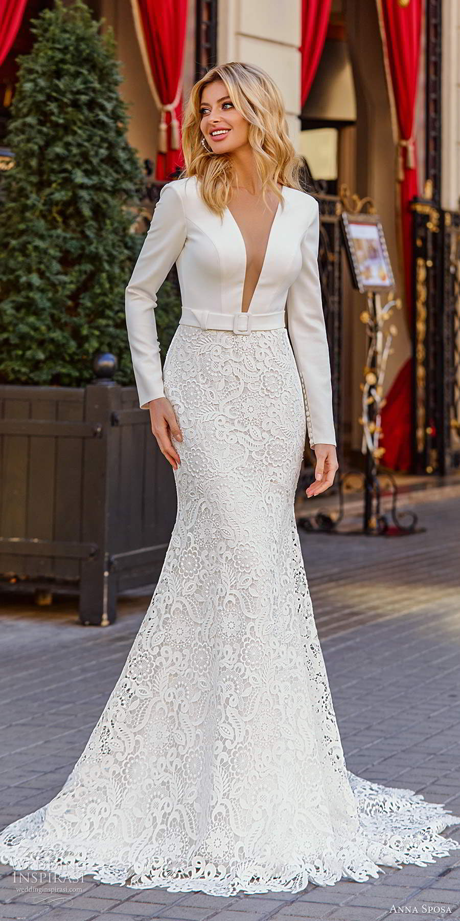 anna sposa 2021 bridal long sleeves plunging v neckine clean bodice lace skirt mermaid wedding dress chapel train (10) mv