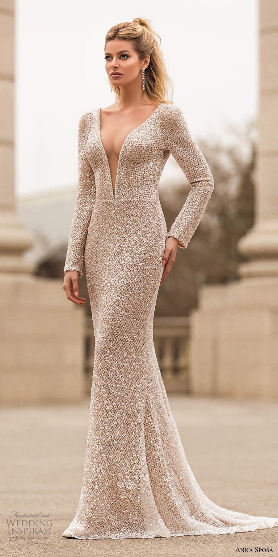 anna sposa 2021 bridal long sleeves plunging v neckline fully embellished sheath wedding dress metallic glam chapel train (12) mv