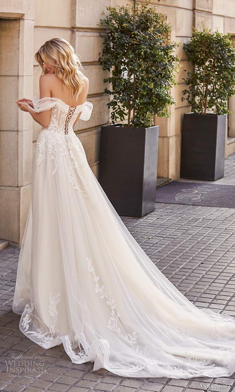 anna sposa 2021 bridal off shoulder straps plunging v neckline embellished bodice a line ball gown wedding dress chapel train corset back (2) bv