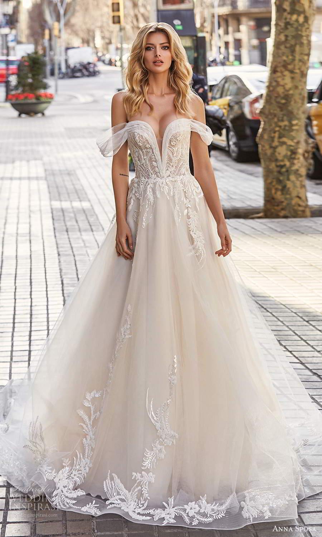 anna sposa 2021 bridal off shoulder straps plunging v neckline embellished bodice a line ball gown wedding dress chapel train corset back (2) mv