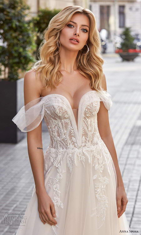 anna sposa 2021 bridal off shoulder straps plunging v neckline embellished bodice a line ball gown wedding dress chapel train corset back (2) zv
