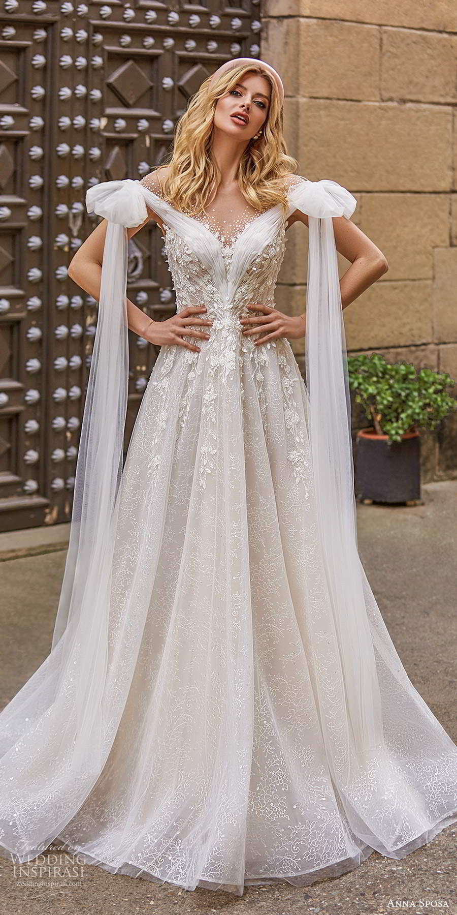 anna sposa 2021 bridal off shoulder straps ruched neckline fully embellished a line ball gown wedding dress chapel tain boho illusion v back chapel train (16) mv