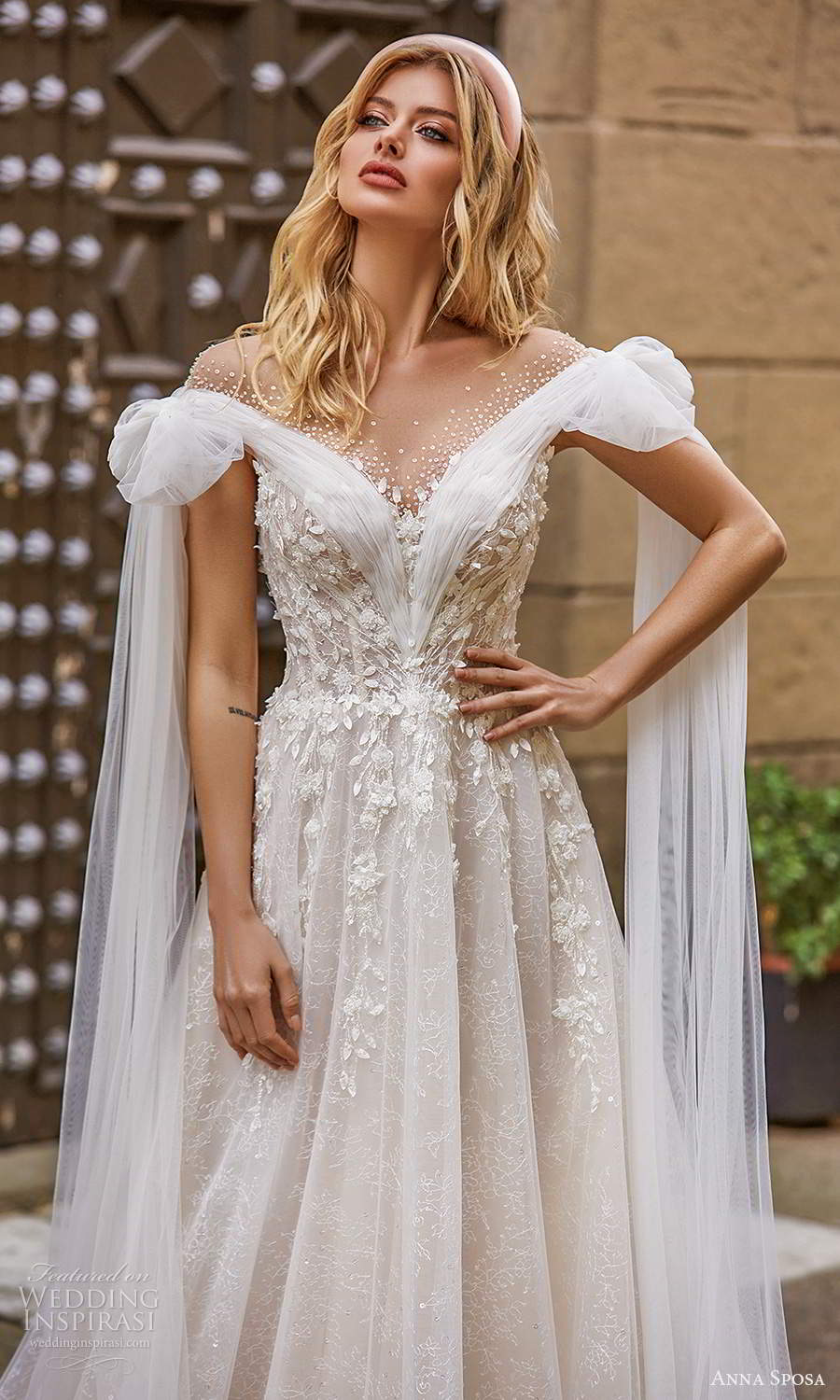 anna sposa 2021 bridal off shoulder straps ruched neckline fully embellished a line ball gown wedding dress chapel tain boho illusion v back chapel train (16) zv