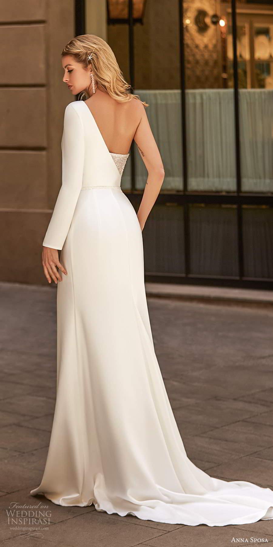 anna sposa 2021 bridal one shoulder long sleeves asymmentric sweetheart neckline embellished sheath wedding dress slit skirt  chapel train (1) bv