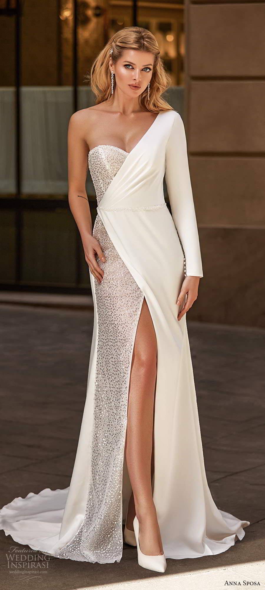 anna sposa 2021 bridal one shoulder long sleeves asymmentric sweetheart neckline embellished sheath wedding dress slit skirt  chapel train (1) mv