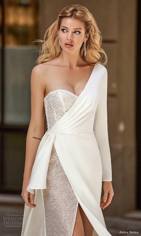 anna sposa 2021 bridal one shoulder long sleeves asymmentric sweetheart neckline embellished sheath wedding dress slit skirt  chapel train (1) zv