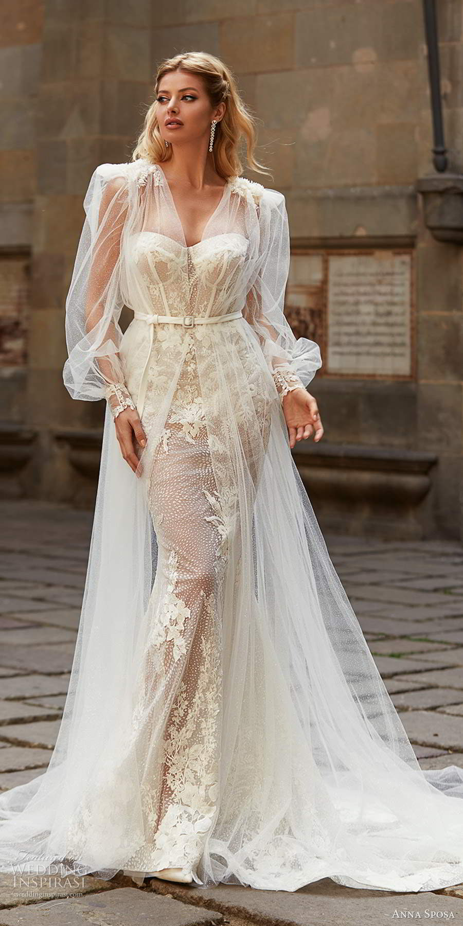 anna sposa 2021 bridal sheer long puff sleeve coat strapless sweetheart neckline fully embellished mermaid sheath wedding dress champagne color chapel train  (3) mv