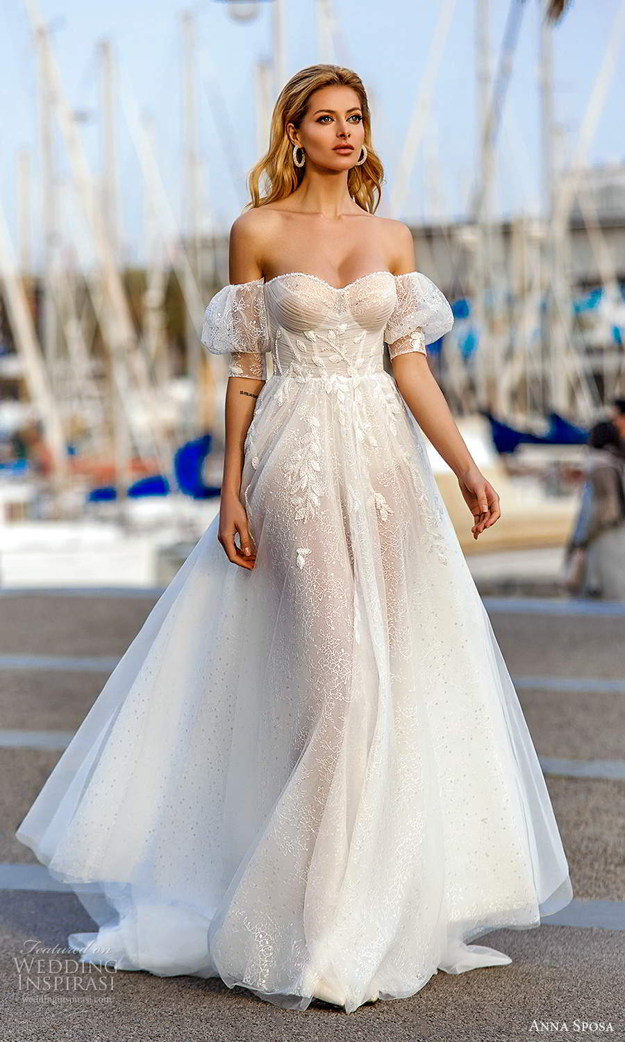 anna sposa 2021 bridal short puff sleeves strapless sweetheart neckline fully embellished a line ball gown wedding dress chapel train (13) mv