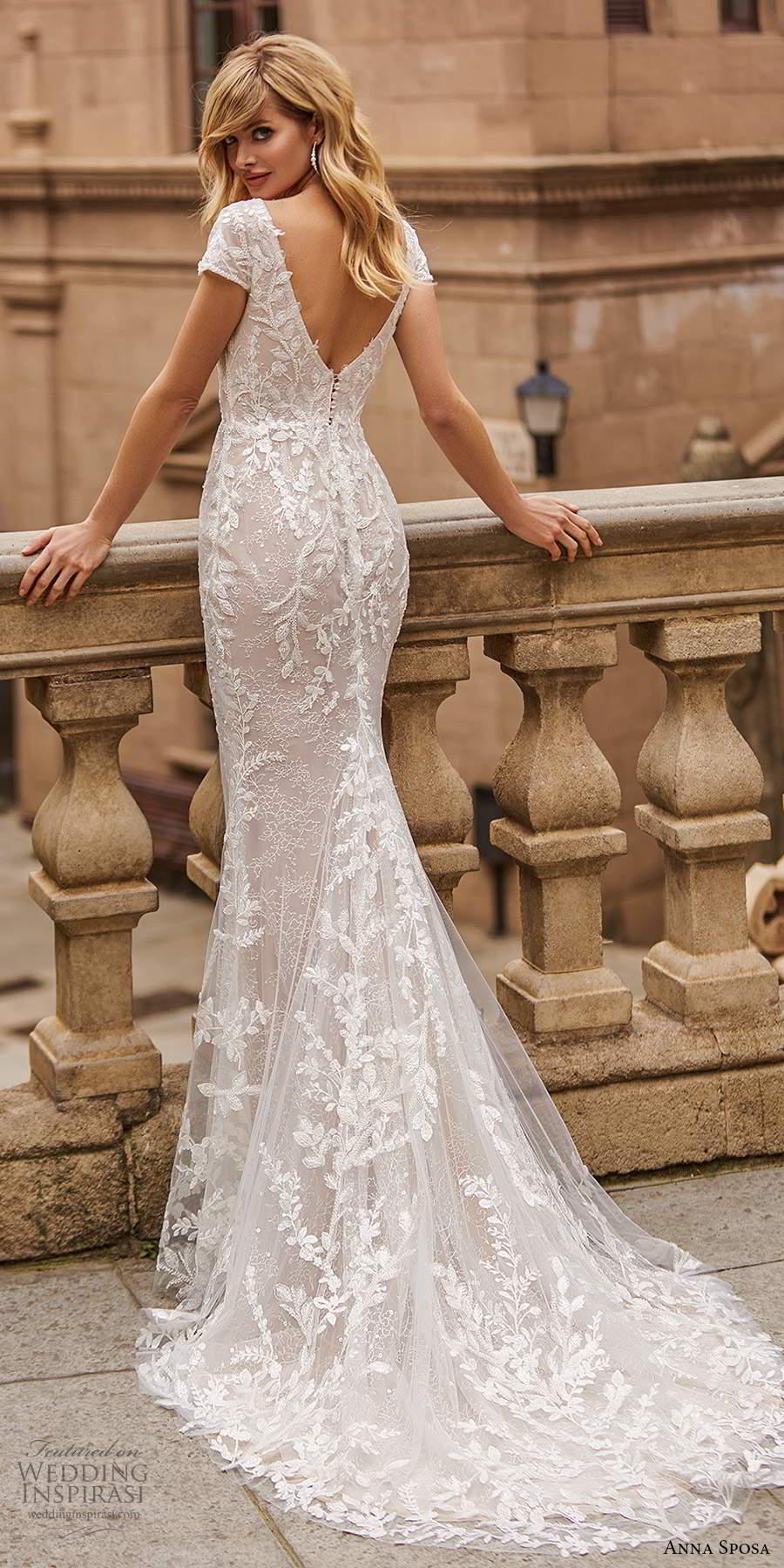 anna sposa 2021 bridal short sleeves plunging v neckline fully embellished sheath wedding dress chapel train (18) bv
