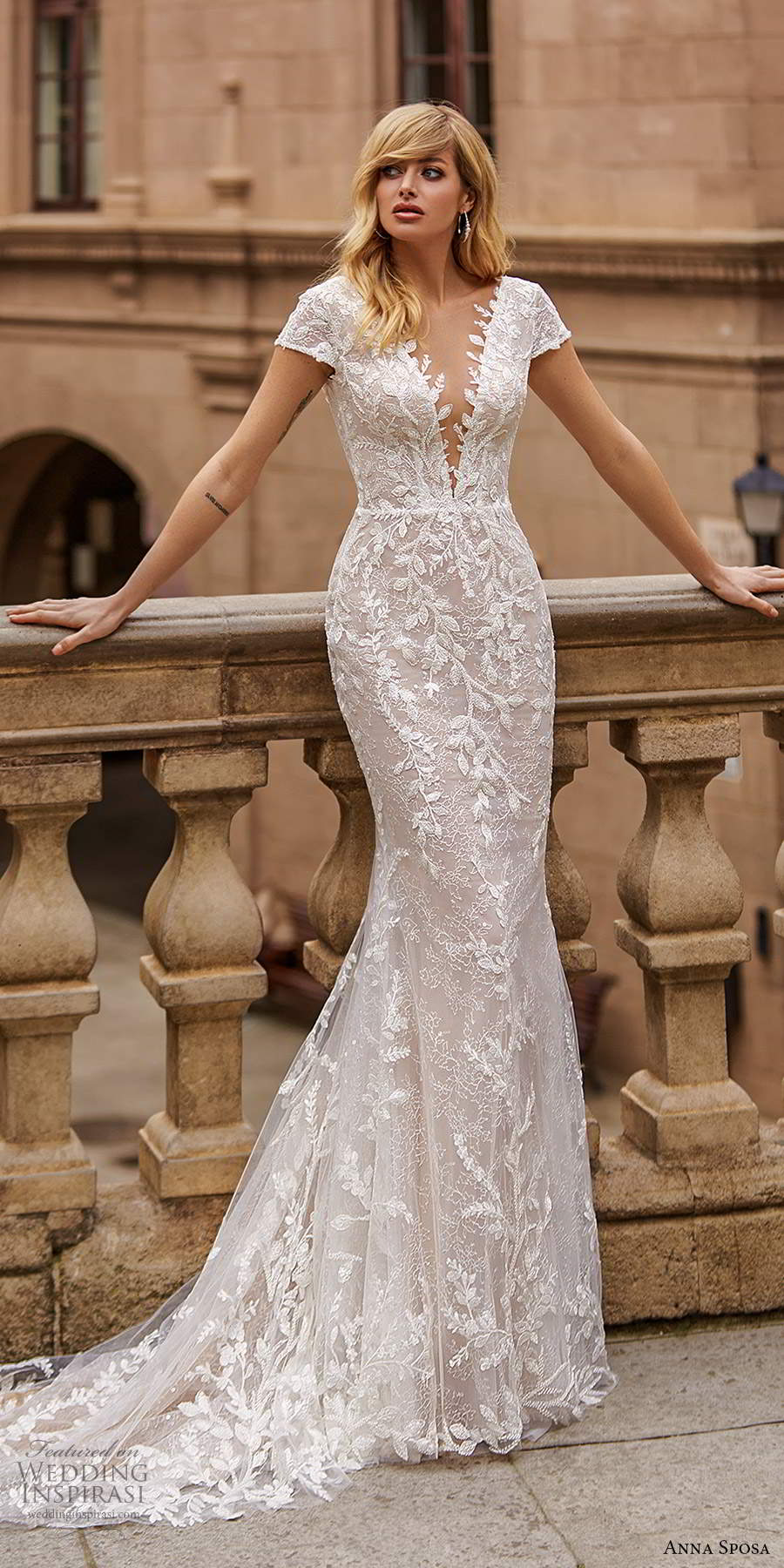 anna sposa 2021 bridal short sleeves plunging v neckline fully embellished sheath wedding dress chapel train (18) mv