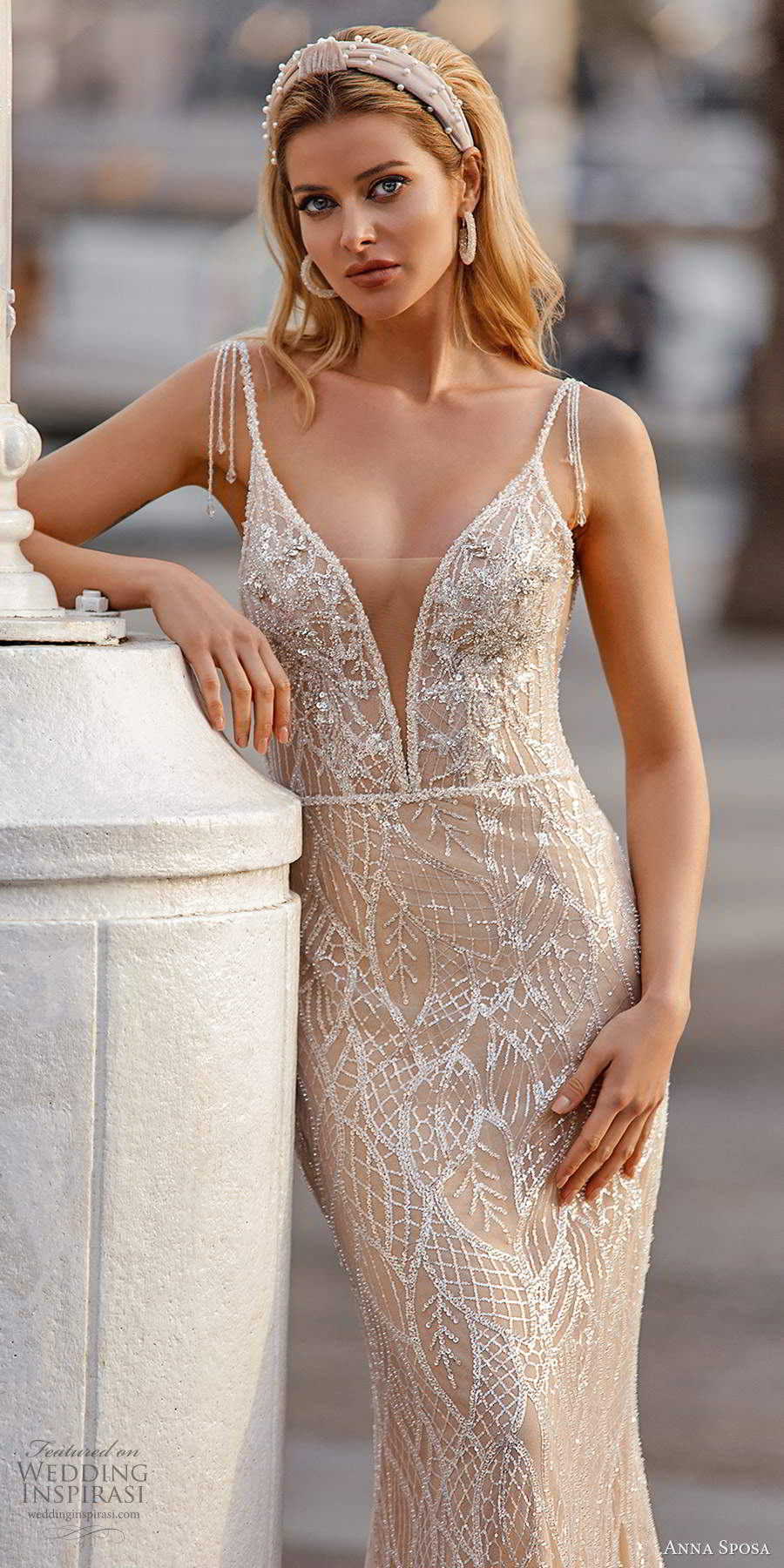 anna sposa 2021 bridal sleeveless beaded straps plunging v neckline fully embellished sheath wedding dress oatmeal sweep train (7) mv