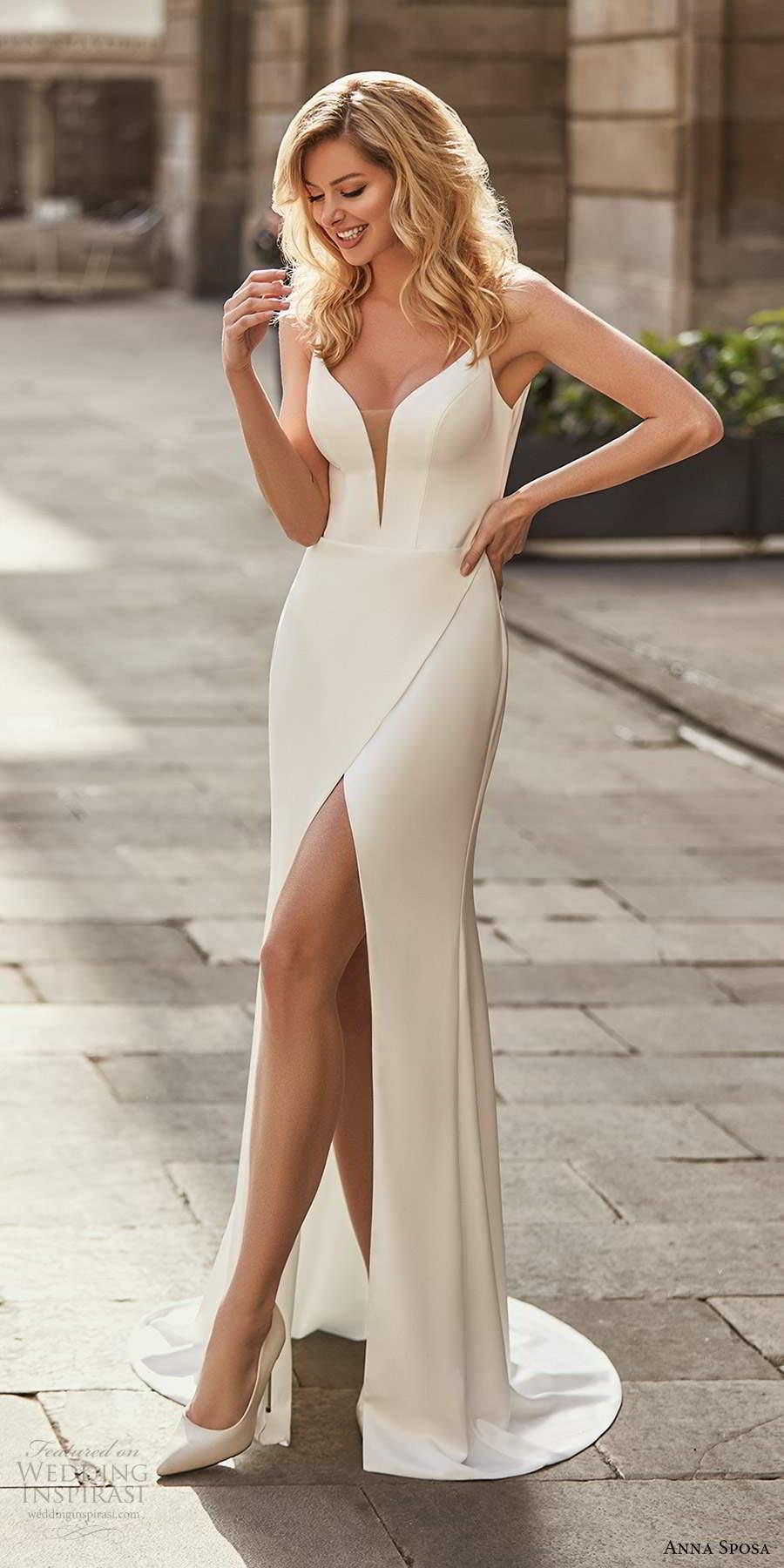 anna sposa 2021 bridal sleeveless straps plunging v neckline clean minimalist sheath wedding dress high slit swep train (5) mv