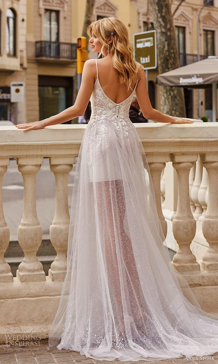 anna sposa 2021 bridal sleeveless straps plunging v neckline fully embellished a line ball gown wedding dress slit sheer skirt chapel train (9) bv