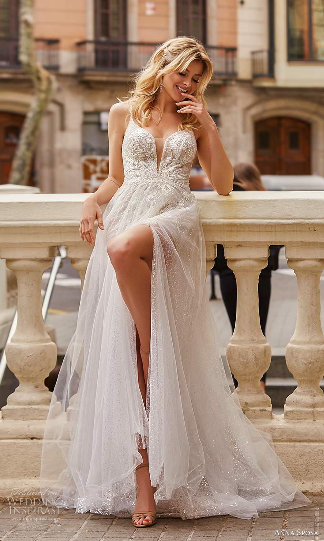 anna sposa 2021 bridal sleeveless straps plunging v neckline fully embellished a line ball gown wedding dress slit sheer skirt chapel train (9) mv