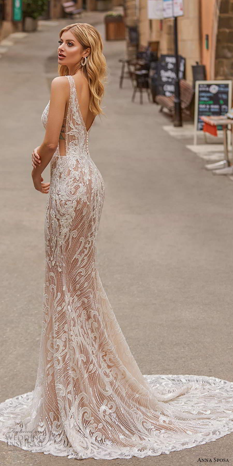 anna sposa 2021 bridal sleeveless straps plunging v neckline fully embellished sheer sheath wedding dress cutout side v back sweep train (4) zv