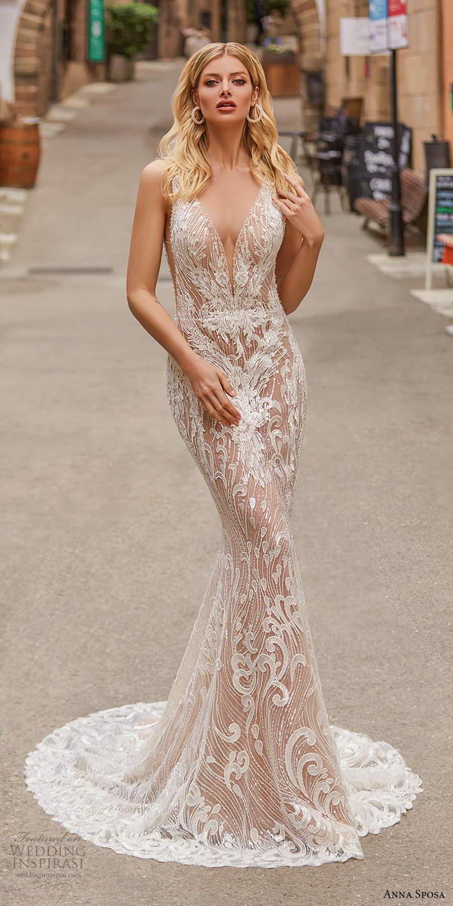 anna sposa 2021 bridal sleeveless straps plunging v neckline fully embellished sheer sheath wedding dress sweep train (4) mv