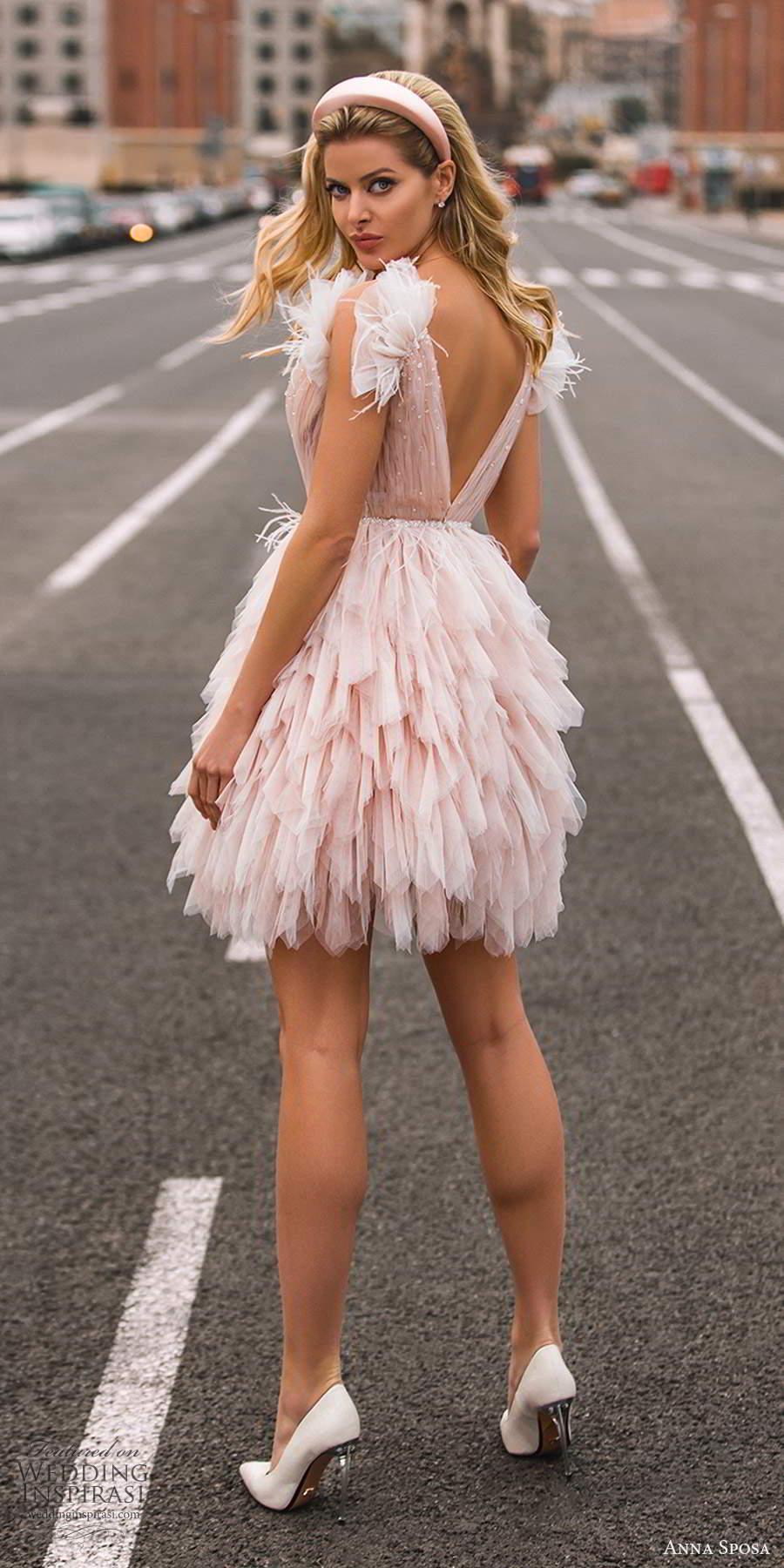 anna sposa 2021 bridal sleeveless straps plunging v neckline ruched bodice short a line pink blush wedding dress ruffle skirt (24) bv