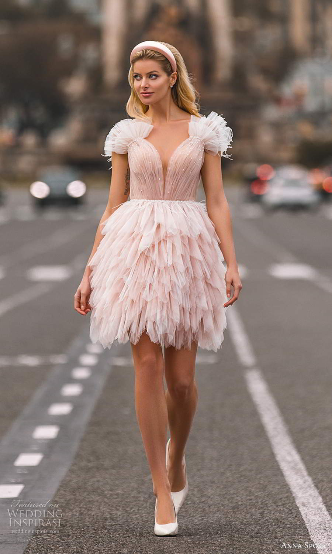 anna sposa 2021 bridal sleeveless straps plunging v neckline ruched bodice short a line pink blush wedding dress ruffle skirt (24) mv