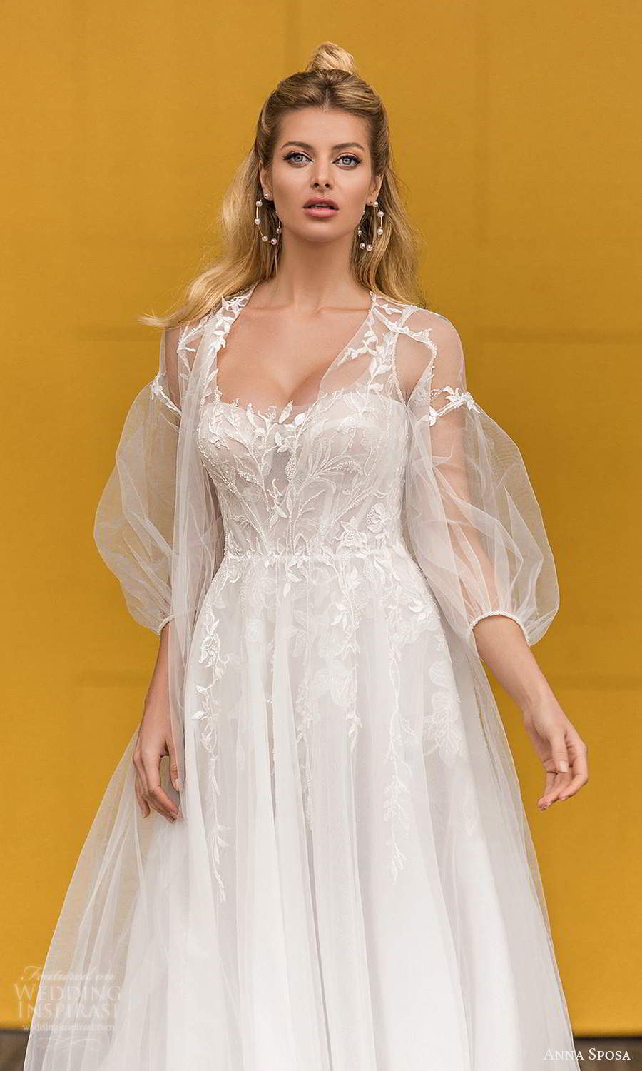 anna sposa 2021 bridal sleeveless straps semi sweetheart neckline embellished a line ball gown wedding dress chapel train sheer bishop sleeve jacket (21) mv