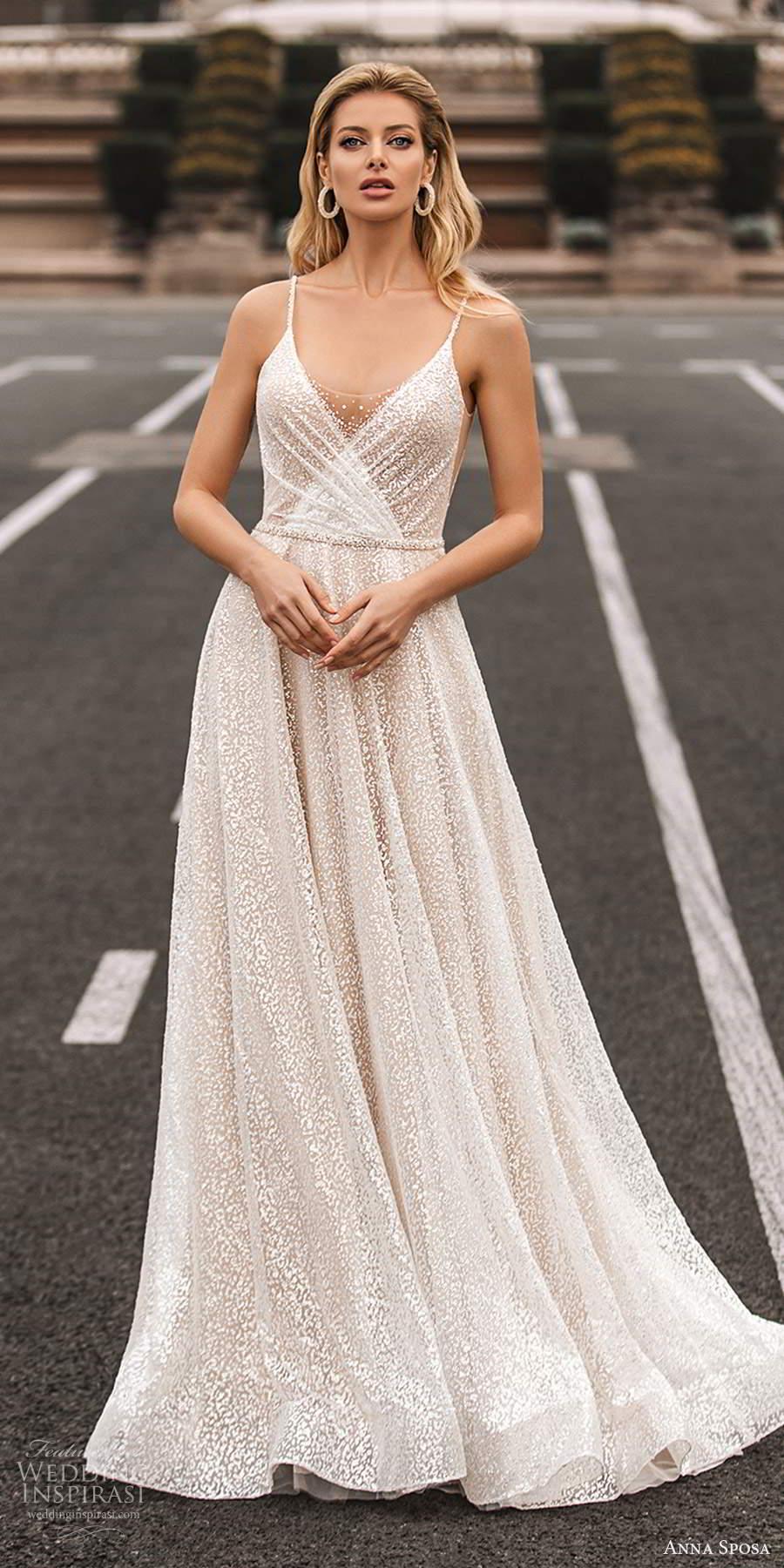 anna sposa 2021 bridal sleeveless thin straps v neckline fully embellished a line wedding dress chapel train (20) mv