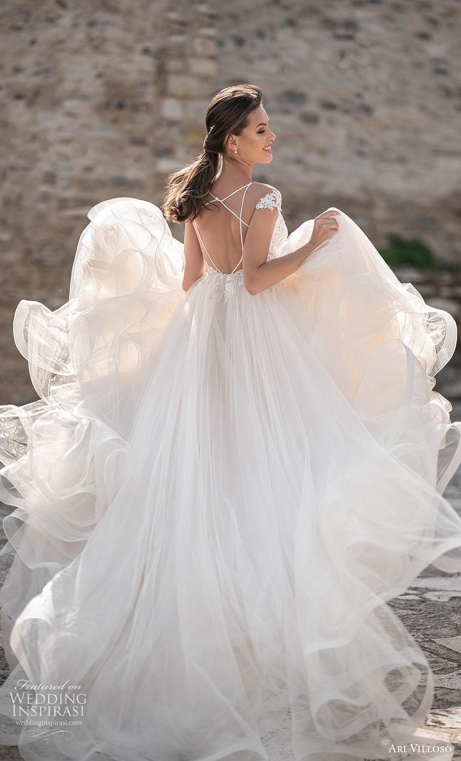 ari villoso 2021 bridal cap sleeves sweetheart neckline heavily embellished bodice romantic a  line wedding dress keyhole back chapel train (3) bv
