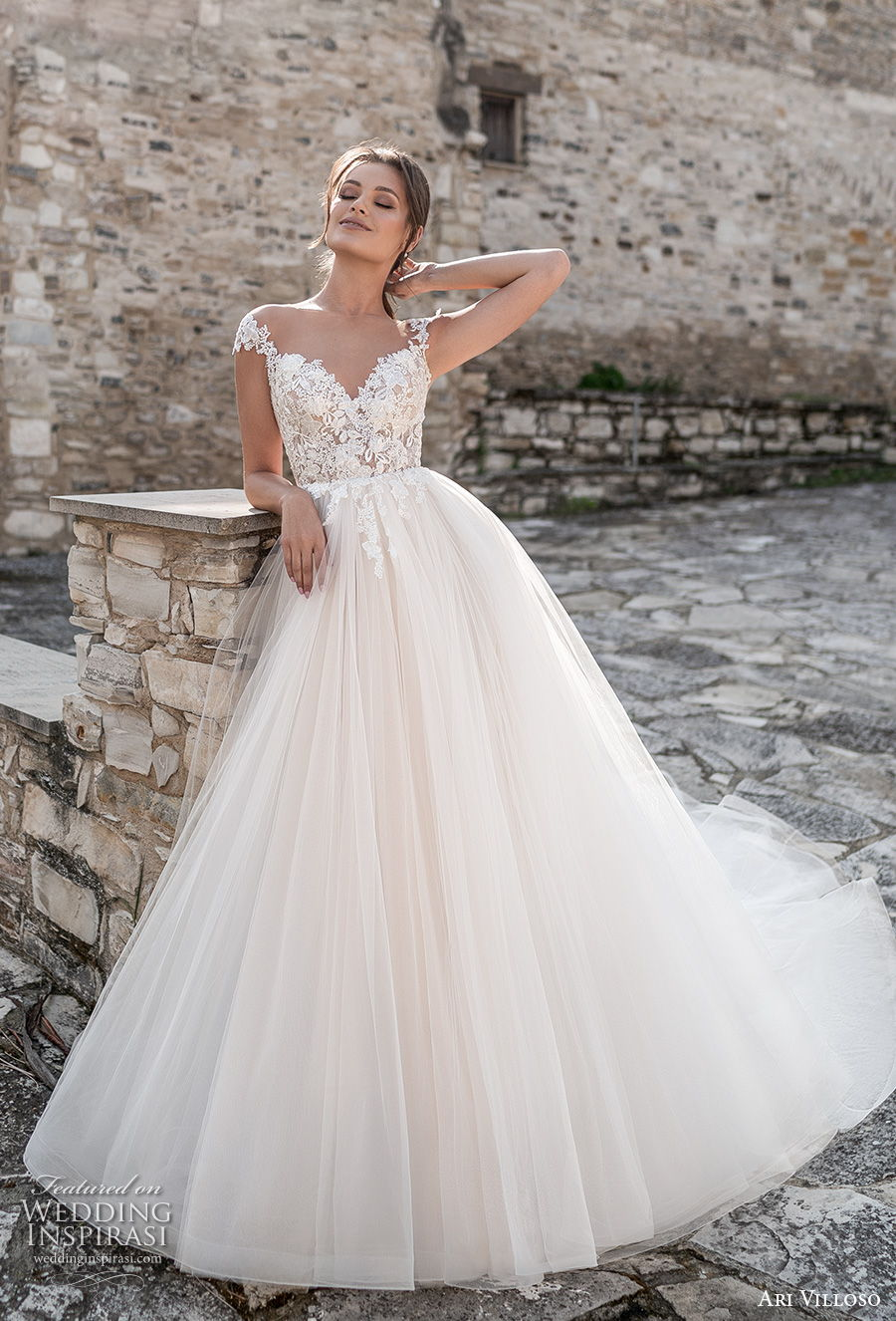 ari villoso 2021 bridal cap sleeves sweetheart neckline heavily embellished bodice romantic a  line wedding dress keyhole back chapel train (3) mv
