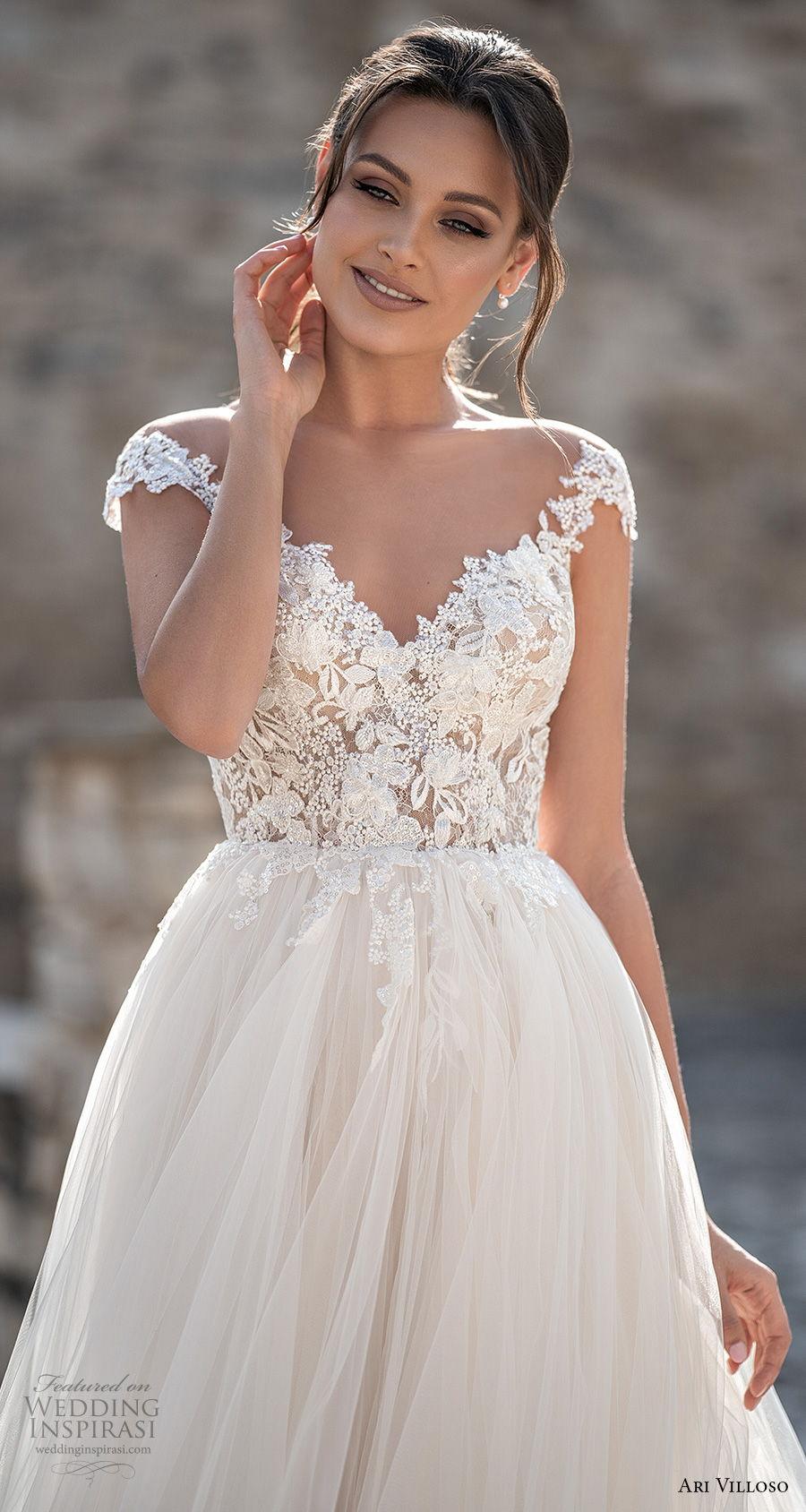 ari villoso 2021 bridal cap sleeves sweetheart neckline heavily embellished bodice romantic a  line wedding dress keyhole back chapel train (3) zv