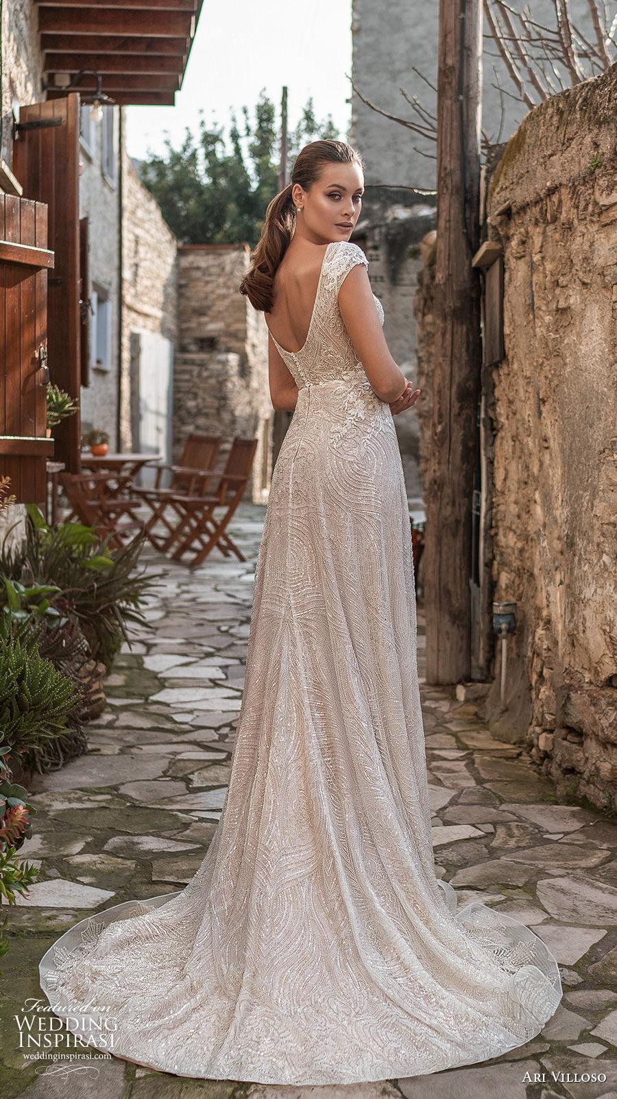 ari villoso 2021 bridal cap sleeves v neck full embellishment elegant modified a  line wedding dress v back short train (11) bv