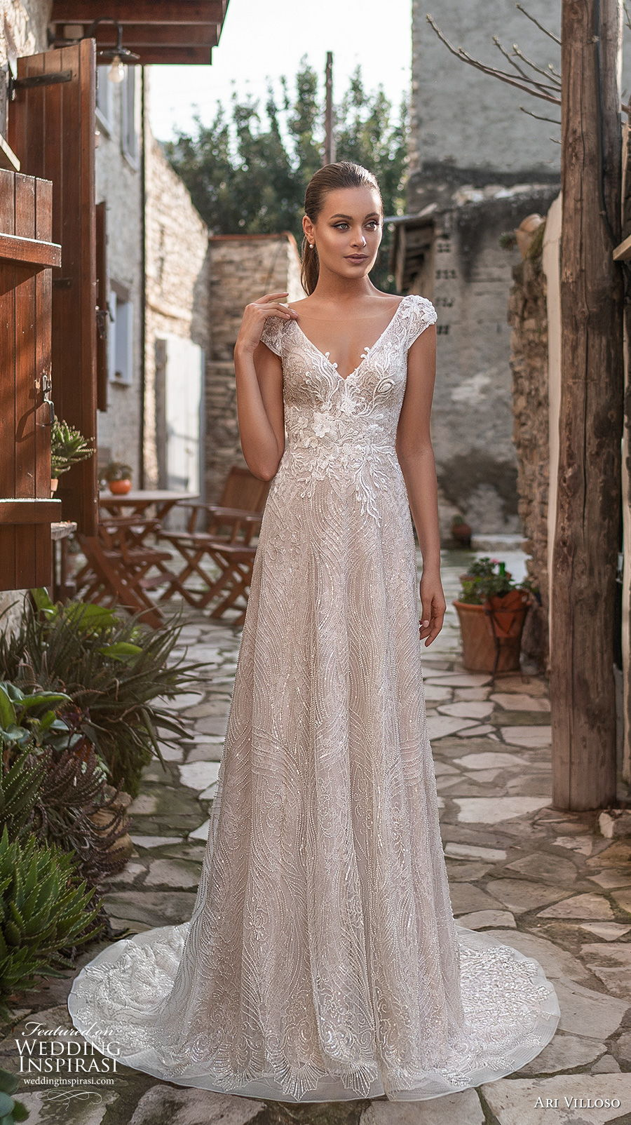 ari villoso 2021 bridal cap sleeves v neck full embellishment elegant modified a  line wedding dress v back short train (11) mv