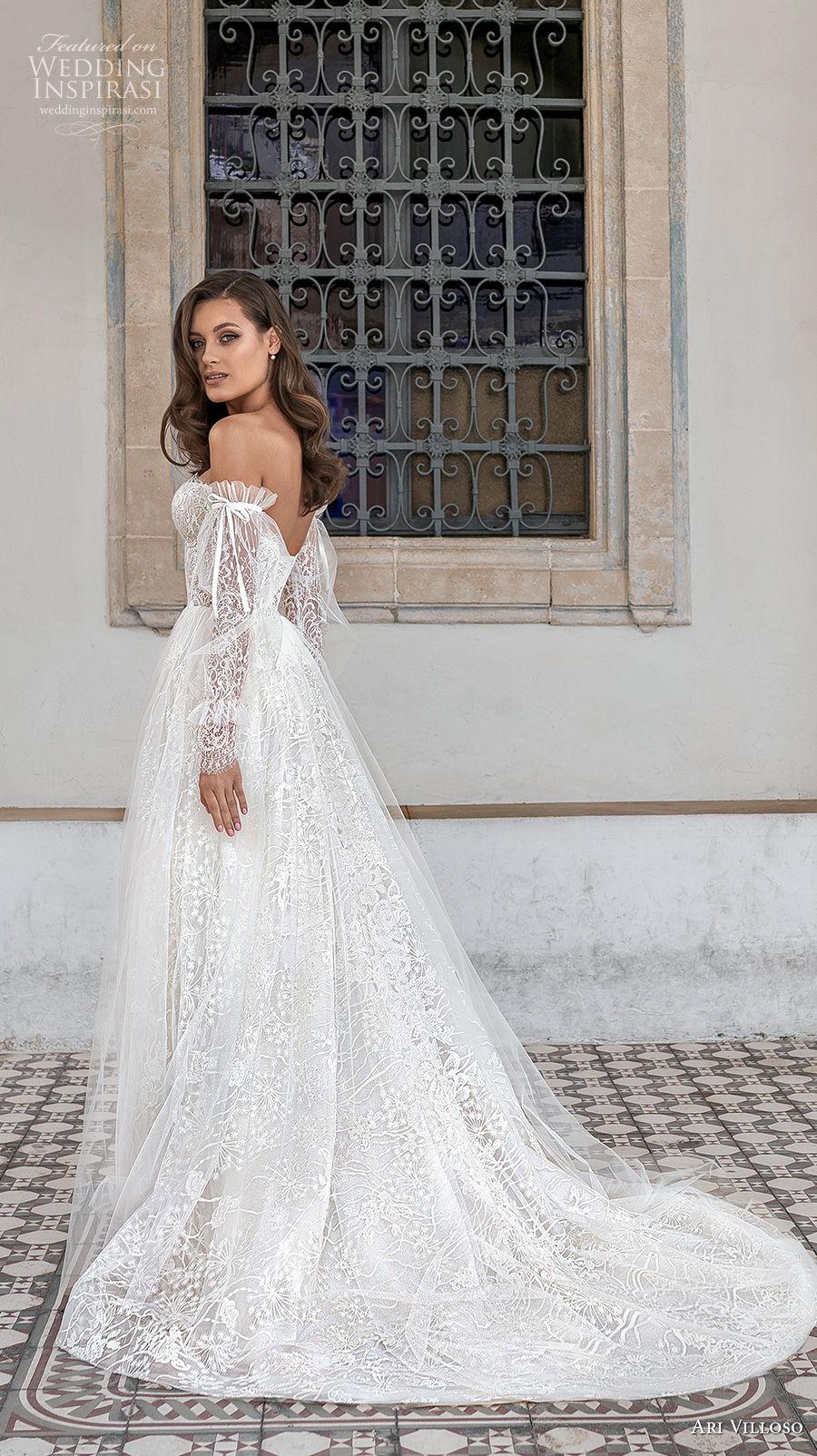 ari villoso 2021 bridal off the shoulder long poet sleeves sweetheart neckline full embellishment romantic a  line wedding dress mid back medium train (5) bv