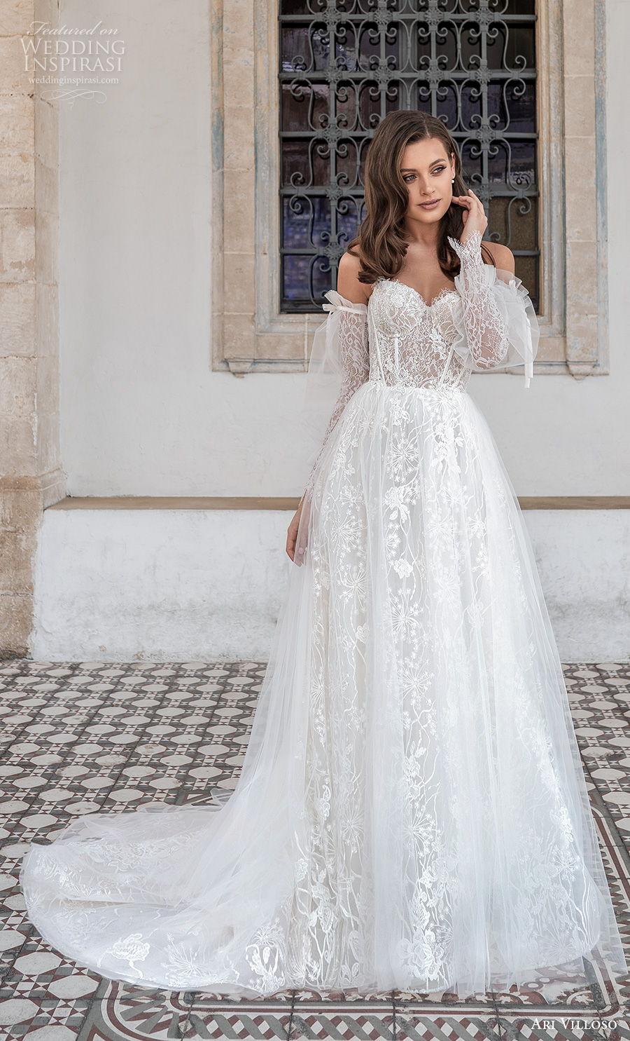 ari villoso 2021 bridal off the shoulder long poet sleeves sweetheart neckline full embellishment romantic a  line wedding dress mid back medium train (5) mv